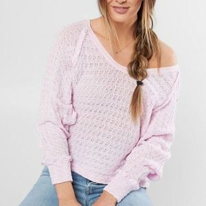 Free People Thien's Hacci pink oversized sweater S